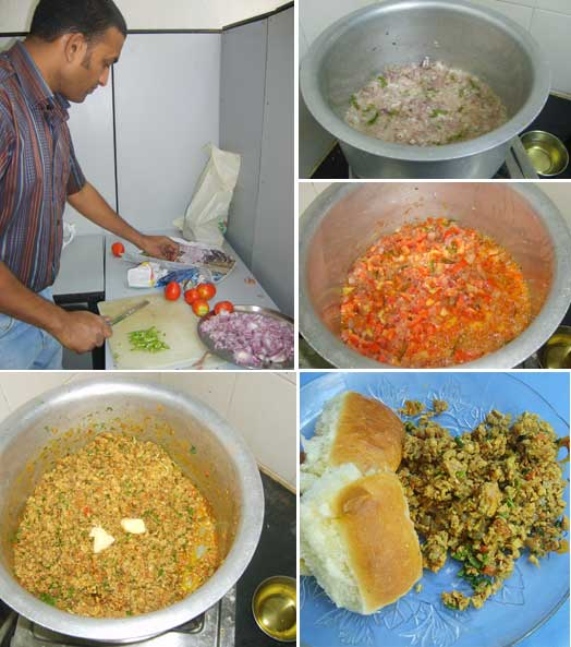Chef Venky at work and ste-by-step anda bhurji